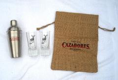 Cazadores Tequila Metal Shaker 2 Tall Stag Shooter Glasses Bur...