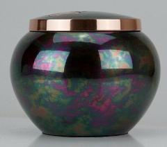 30 Cubic Inches Teal Raku Brass Pawprint Pet Jar Urn for Crema...