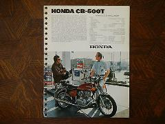 76 HONDA CB500T NOS OEM DEALER'S SALES SHEET BROCHURE CB CB500...