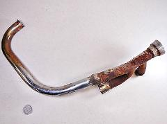 82 KAWASAKI KZ550 LTD LEFT SIDE OUTER EXHAUST HEADER PIPE CYLI...