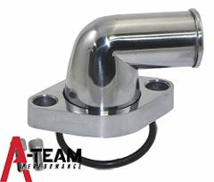 A-Team Performance SBC BBC CHEVY 90� SWIVEL POLISHED WATER NEC...