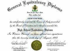 Diploma GED HIGH SCHOOL Personalized Novelty Diplomas