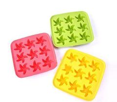3 Pack Starfish Ice Cube Chocolate Soap Tray Mold - Red & Green