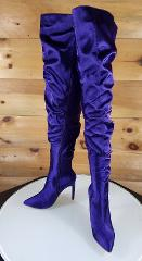 CR Purple Satin Slouchy Shaft Pointy Toe OTK Thigh Boot High H...