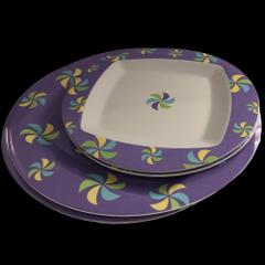 Table for Two Purple Melamine Plates & Dessert/Salad Plates 4 ...
