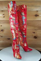 CR Gigi 39 Red Satin Oriental Phoenix Embroidery OTK Thigh Boo...