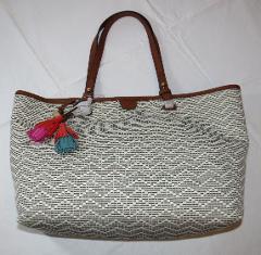 Fossil ZB7244558 Rachel Fabric Tote Neutral Stripe handbag pu...