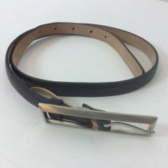 Ann Taylor Black Leather Belt Size S Oversized Silver Tone Buckle