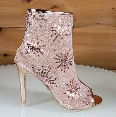 Mac J Rose Gold Sequin Mesh Open Toe Ankle Boot - 4