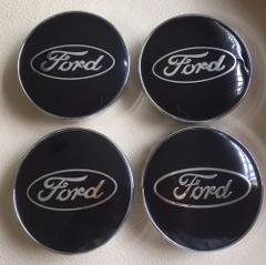 Ford 60mm Black ALLOY WHEELS HUB CENTRE CAPS for Ford Fiesta F...