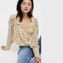 NWT FREE PEOPLE Jubilee Embroidered Mesh Top Floral Ivory Boho...