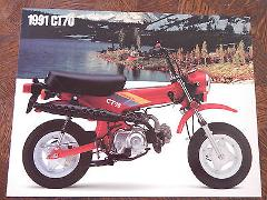 91 HONDA CT70 NOS OEM DEALER'S SALES SHEET LITERATURE BROCHURE