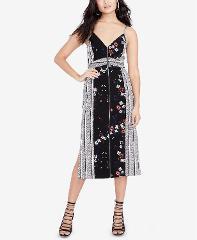 RACHEL Rachel Roy Womens Printed Zip Front Dress Black/White S...
