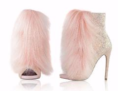 Nelly B Bestie Pink Blush Glitter Vegan Fur Open Toe 4.5