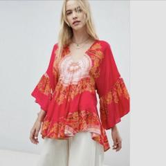 FREE PEOPLE Sunset Dreams Printed Red Tunic Top Medium M NWT