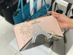 MICHAEL KORS Paris NOVELTY PARIS JET SET TRAVEL ZIP CLUTCH WRI...