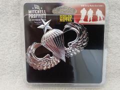 Senior Parachutist Silver Metal Auto Emblem