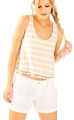 NWT Lilly Pulitzer Shirley Crop Top Heathered Sand Dune XS S N...