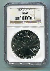 1990 AMERICAN SILVER EAGLE NGC MS69 BROWN LABEL PREMIUM QUALIT...