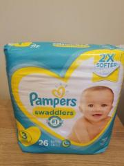 Pampers Swaddlers Soft and Absorbent Diapers, Size 3, 26 Ct