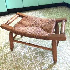 Rush Seat Stool Bench Oak Wood Saddle Curved 21x12x14 Vtg Mid ...