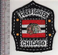 Firefighter Illinois Chicago Fire Department Black Hawks Hocke...