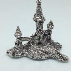 Pewter CASTLE TOWER WITH MOAT FIGURINE Lead Free Miniature Statue