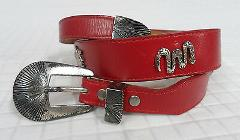 SILVER CREEK Collection LEEGIN Belt RED Leather CONCHO Southwe...