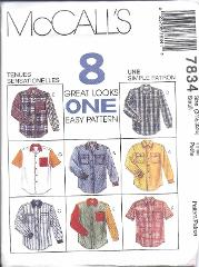 7834 UNCUT Vintage McCalls SEWING Pattern Mens Oversized Shirt...
