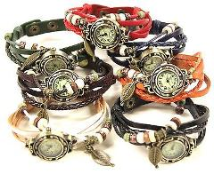 Lot of 5 Genuine Leather Vintage Western LEAF Charm Bracelet W...