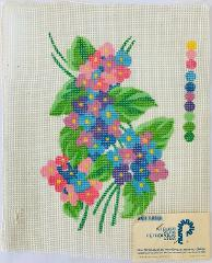 Vintage Brazil Petitpoint Canvas Flowers Pink Blue Purple Atel...