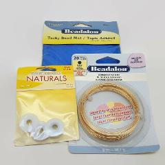 3 Piece Mixed Lot of Jewelry Making Supplies Wire, Mat & Hi Lo...