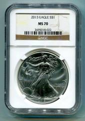 2013 AMERICAN SILVER EAGLE NGC MS 70 BROWN LABEL PREMIUM QUALI...