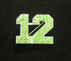 12 Pin Seahawks Seattle Football Crystals Green Silver Tone New