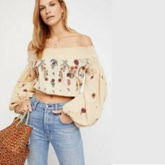 Free People Saachi Embroidered Off The Shoulder Top Natural Sm...