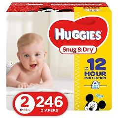 HUGGIES Snug & Dry Diapers Size 2 246 Count Packaging May Vary