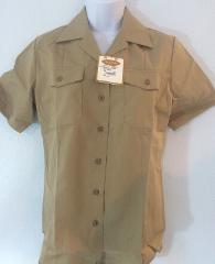 Creighton Navy Uniform Shirt Women's 36 S Khaki Short Sleeve M...