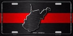 West Virginia Thin Red Line Novelty Metal License Plate