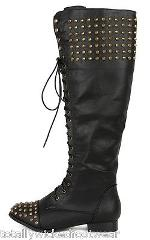 Jillian 2 Black Leatherette Spike Stud Lace Up Combat Riding K...