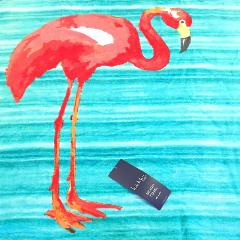 Nicole Miller Pink Flamingo Spa Beach Pool Towel Teal Turquois...