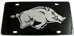 Arkansas Razorbacks Mirrored Black Plastic License Plate