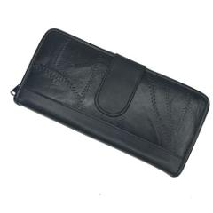 Black Leather Checkbook Wallet Patchwork Brand New Card Holder...