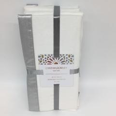 12 Cynthia Rowley Napkin Set Silver Shimmer White Christmas We...