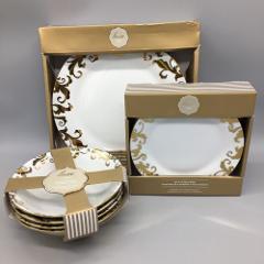 12pc Ciroa Luxe Fiori Scroll Metallic Gold Swirl Dinner Side P...