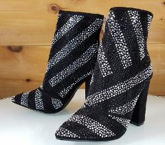 CR Black Iridescent Rhinestone Chunky High Heel Ankle Boot Us ...