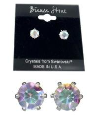 Bianca Stone Aurora Borealis Stud Earrings Crystals Made By Sw...