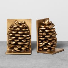 Hearth and Hand with Magnolia Pinecone Book End Set Gold Metal...