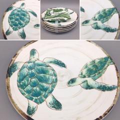 x4 TOMMY BAHAMA Melamine SEA TURTLE Appetizer Plates Turquoise...