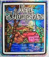 New Hampshire State Vinyl Reflective Souvenir Decal with Glitter