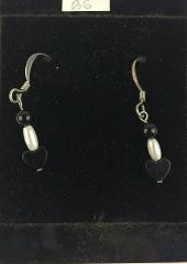 Black Stone Heart Handmade Dangle Earrings 1.25